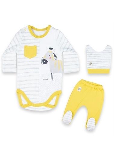 Vip Bebe Vipbebe Erkek Bebek Çizgi ve Zebra Desenli Çıtçıtlı Uzun Kol Mevsimlik Badi, şapka ve Pantolon Takım Sarı